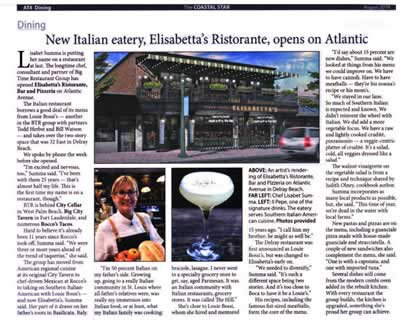 New Italian Eatery, Elisabetta's Restorante, opens on Atlantic